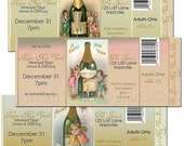 Personalized Vintage Christmas Party Ticket Style Invitations