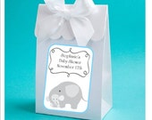 Personalized blue elephant baby boy shower favor boxes - baby boy elephant shower favors, baby shower favor box - set of 12