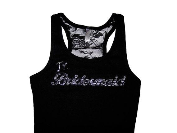 Jr Bridesmaid Lace Tank Top, Bridesmaid Shirts, Bridesmaid Gifts, Bride Shirt, Bride Tank, Bride Gift, Bachelorette Party Tank Tops, Wedding