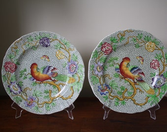 "Pair of antique English ""Devonia"" sheet transferware bird and butterfly plates by Copeland and Spode"