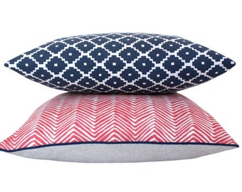 Set of Two Coordinating Red, White and Blue Geometric Pillow Covers