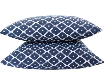 Two Schuamcher Blue Ziggurat Pillow Covers- Double Sided