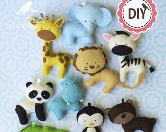 ZOO friends - DIY Zoo animals - make your own toys - pattern - pdf SALE