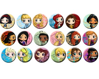 Disney Princess Button Set - Including Anna, Elsa, Rapunzel, Tinker Bell, Merida, Ariel, Belle, Alice, Mulan, Tiana, Snow White and more!