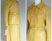 Vintage 1970s LEATHER SKIRT SUIT/Jacket and Skirt iButtery Soft Leather/size Small-Me
