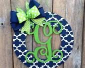 Initial Door Wreath Monogrammed Door Wreath Wood Wreath Housewarming Gift Home Decor Wedding Gift Wall Decor Front Door Hanger