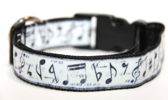 Music Dog Collar, FREE SHIPPING, dog collar, music note, musical, adjustable dog collar