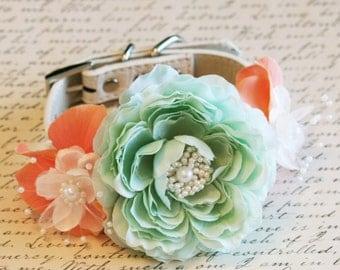 Peach and Mint Floral Dog Collar, Pet Wedding Accessory, Floral Peach and Mint Wedding, Dog Lovers