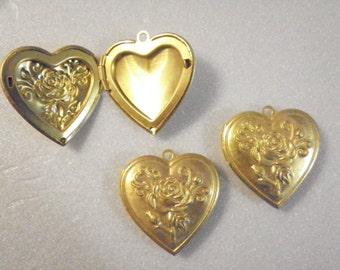 3 Brass Heart Lockets with Flowers