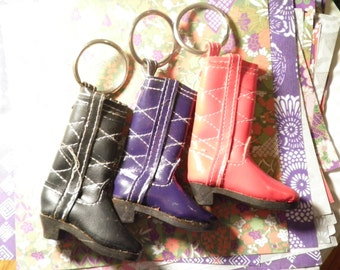 3 Assorted Cowboy Boot Keyrings