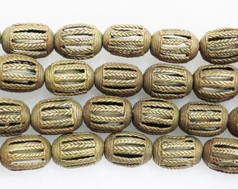 5 Ethnic Beads, African Brass Beads, Spacer Beads (D12)