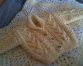 """Baby Boy/Girl Chunky Aran  & Alpaca  Cardigan (18""""chest approx.6months) Rolled collar in traditional Aran pattern.  Xmas/Baby Shower.s"""