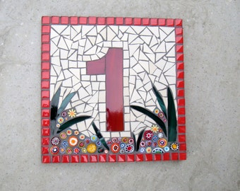 "Custom Mosaic House Number, Sign, Plaque, Street Address, Yard Art, Bespoke Number,Digit, Outdoor,Wall hanging,ornament,Glass,door 7"""