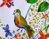 Bird Watercolor Bird Painting Cute Bird Flowers Landscape Bird Decor Yellow Green Orange Blue Gold Bird Wall Art Bird Fine Art Bird Flowers