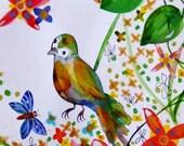 Bird Watercolor Bird Painting Cute Bird Flowers Landscape Bird Decor Yellow Green Orange Blue Gold Bird Wall Art Bird Fine Art Bird Flowers