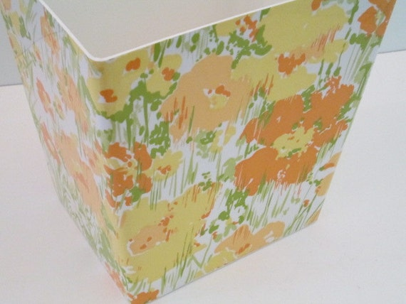 Floral Trash Can Planter Shabby Cottage Chic Vera Neumann