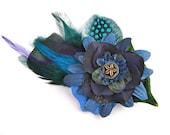 Blue violet flower feather fascinator graduation prom bridal wedding antique button alligator clip