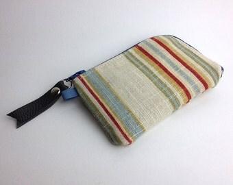 Stripped Linen Credit Card Zipper Purse