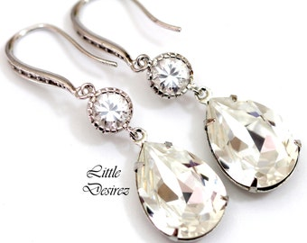 Bridal Earrings Teardrop Earrings Swarovski Earrings Crystal Clear Earrings Bridesmaid Earring Wedding Jewelry Cubic Zirconia Earring CC31HC