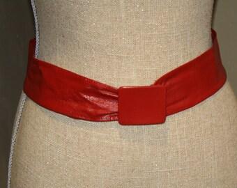 Astor Adjustable Rocking Red Vintage Belt- deep red belt- leather