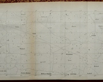 1852 Antique chart of CONSTELLATIONS, STARS. Astronomy. 164 years old celestial print