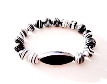 Zebra Beaded Bracelet - Boho Bracelet - Bead Bracelet