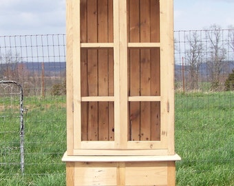 Reclaimed Barnwood tall cabinet with glass and drawers