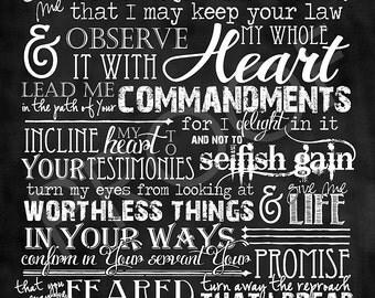 Scripture Art  - Psalm 119:33-40 Chalkboard Style (long format)