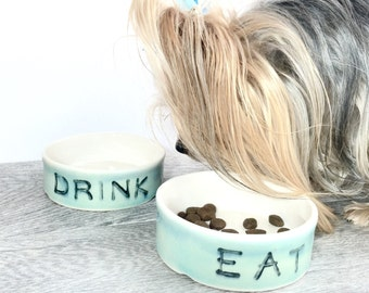 Pet Food Bowl Set Ceramic  Personalized Pet Feeding Set Dog Cat READY TO SHIP