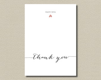 Printable Thank You Card - Simple and Sweet love heart design, Charcoal & Pink
