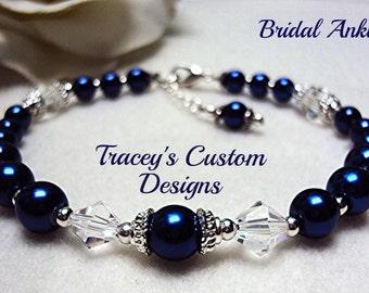 Stunning Deep Royal Blue Bridal Ankle bracelet - Custom made jewlery