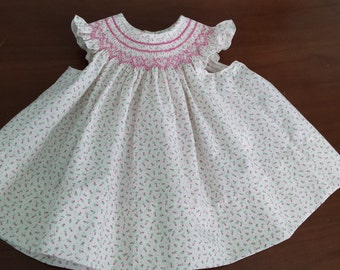 Hand Smocked Baby Bishop with Angel Sleeves - 3 month size