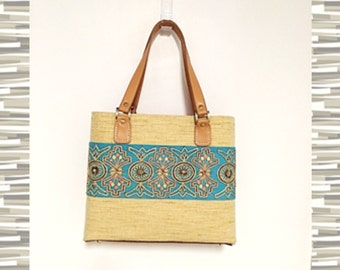 Purse Beaded Sari Fragment Faux Leather Handles