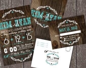 Wedding Invitations, Western Wedding Invitations, Cowboy Wedding Invitations, Western Invitations, Cowboy Invitations, Glitter Invitations