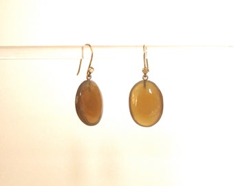 Small oval horn honey colored earring