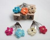 baby girl/girls/children hair clip bundle - crochet flowers in different colours
