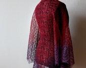 Hand knit linen shawl - Marsala+purple - femine lace shawl