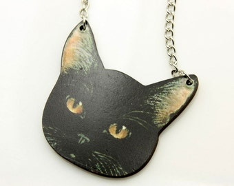 Necklace Black cat  wooden