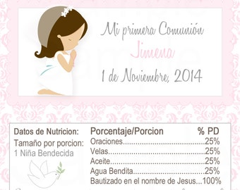 Girls Pink First Communion Hershey Label - Printable file