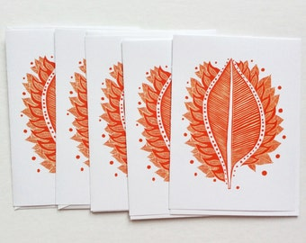 five cards - BURNING LEAF / blank greeting card / art cards / stationary / red leaf linocut / autumn leaves / 5x7 nature art / art gift