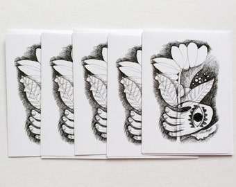 five cards - FLOWER IN HAND / blank greeting card / art cards / stationary / black & white / hamsa drawing / 5x7 art gift / art gift