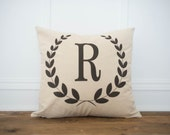 Laurel Wreath Date 100% Linen Pillow Cover