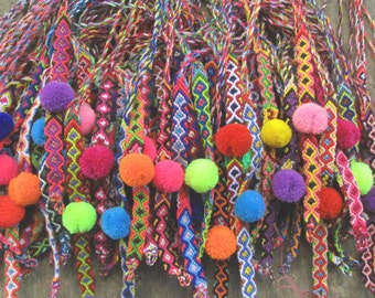 Wholesale Lot Friendship Bracelets Mini Pom pom Bracelet Fiber Bracelet Handwoven bracelet Neon Bracelet  Colorful bracelet 75 bracelets