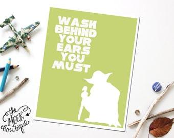 INSTANT Download, Star Wars Yoda Bathroom Wall Art Printable, No. 32