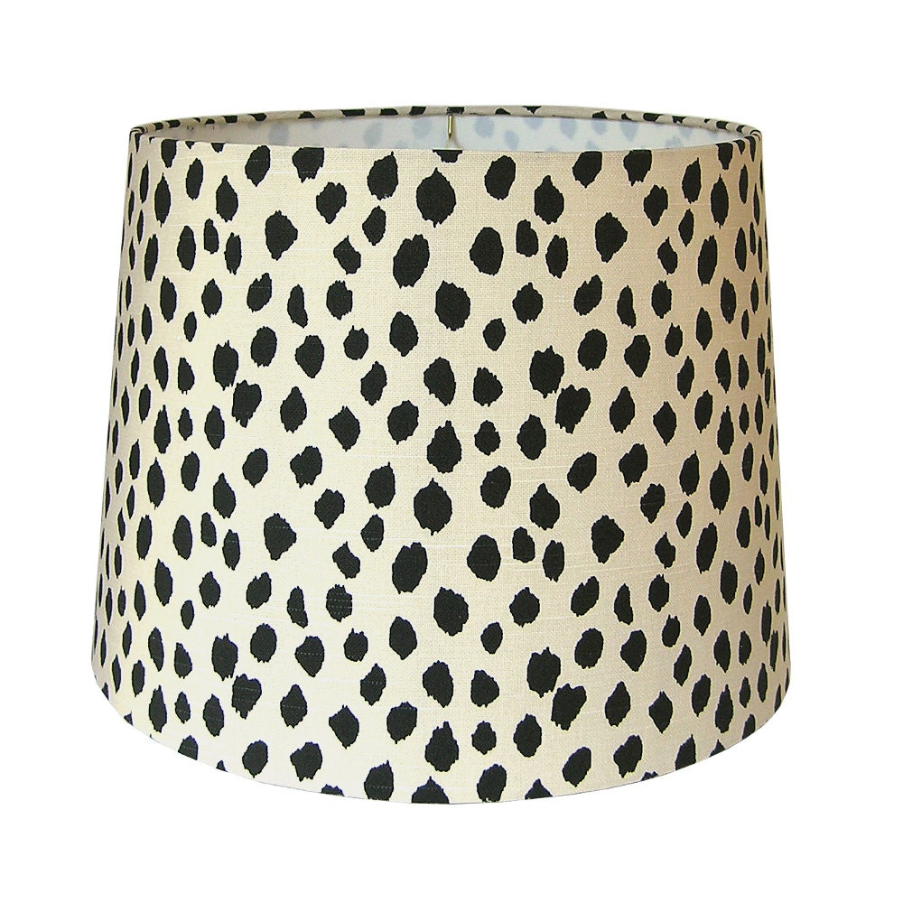 Lamp shade lampshade dotted fabric beige black dots animal for Floor lamp with leopard shade