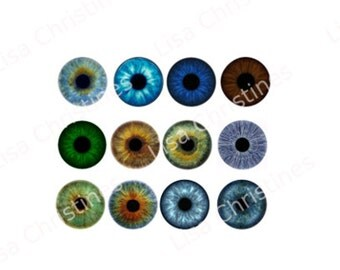 Doll Eyes Digital Collage 12 Sheets of 6mm eyes, Instant Download for Doll Eyes, Pendants, Jewelry, Taxidermy, Paper Crafts, 249