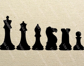 Chess Pieces Black Silhouette Illustration Clipart, Instant Download, Digital Transfer Image for Fabric Transfers, Paper Crafts etc 412