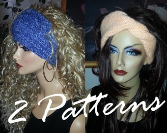 2 PDF Patterns Knitted Reversible Turban Headband and Basic Earwarmer Headwrap
