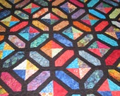 Queen Quilt - Paper Pieced Stained Glass Batik Quilt