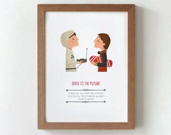 Illustration, print, Back to the future, Wall art,  Art decor, Hanging wall, Printed art, Decor home, Gift idea, Robert Zemeckis film